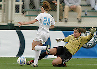 Lauren Karas(Notre Dame) comes out on UNC Heather O'Reilly.UNC-Chapel Hill vs Notre Dame in 2006 NCAA Women's College Cup at SAS Stadium in Cary, NC