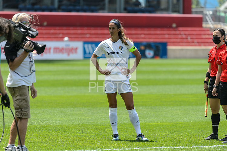 BRIDGEVIEW, IL - JUNE 5: Abby Erceg #6 of the North Carolina Courage looks on before a game between North Carolina Courage and Chicago Red Stars at SeatGeek Stadium on June 5, 2021 in Bridgeview, Illinois.