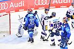 Tor zum 2:2 Ausgleich, Mathew Bodie (Nr.22 - ERC Ingolstadt), Louis-Marc Aubry (Nr.11 - ERC Ingolstadt) und Torwart Michael Garteig (Nr.34 - ERC Ingolstadt) können das Tor nicht verhindern beim Spiel im Halbfinale der DEL, ERC Ingolstadt (dunkel) - Eisbaeren Berlin (hell).<br /> <br /> Foto © PIX-Sportfotos *** Foto ist honorarpflichtig! *** Auf Anfrage in hoeherer Qualitaet/Aufloesung. Belegexemplar erbeten. Veroeffentlichung ausschliesslich fuer journalistisch-publizistische Zwecke. For editorial use only.