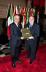 First Minister Alex Salmond, First Minister of Scotland presents Abdulrahman Al Suhaibani (Deputy Head of Mission at Royal Embassy of Saudi Arabia) with a gift following the dinner and reception held at Edinburgh Castle this evening..Pic Kenny Smith, Kenny Smith Photography.6 Bluebell Grove, Kelty, Fife, KY4 0GX .Tel 07809 450119,