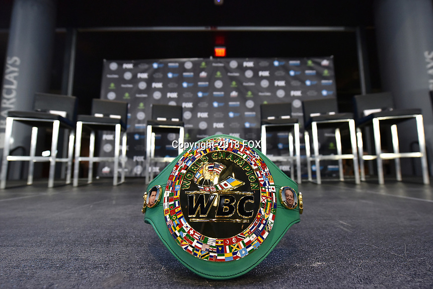 BROOKLYN, NY - DECEMBER 20: WBC Championship belt sits on the stage before the start of the Premier Boxing Champions press conference for the December 22 Fox PBC Fight Night at the Barclay Center on December 20, 2018 in Brooklyn, New York. (Photo by Anthony Behar/Fox Sports/PictureGroup)
