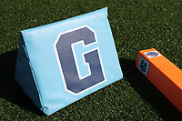 CHAPEL HILL, NC - NOVEMBER 14: UNC football goal line marker and end zone pylon before a game between Wake Forest and North Carolina at Kenan Memorial Stadium on November 14, 2020 in Chapel Hill, North Carolina.