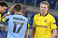 Ciro Immobile of SS Lazio and Erling Braut Haaland of Borussia Dortmund during the Champions League Group Stage F day 1 football match between SS Lazio and Borussia Dortmund at Olimpic stadium in Rome (Italy), October, 20th, 2020. Photo Andrea Staccioli / Insidefoto