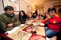 "Italy. Piedmont region. Turin. Restaurant ""Tre Galli"". Stop TB Partnership. National ambassadors against tuberculosis (WHO). Left by number: Rania Ismail (2), Jordan, actress. Sonia Goldemberg(3), Peru, Journalist. Right by number: Deepak Raj Giri (2), Nepal, TV movie actor. Deespasri Niraula(3), Nepal, TV movie actress.6.12.2011 © WHO /Didier Ruef"