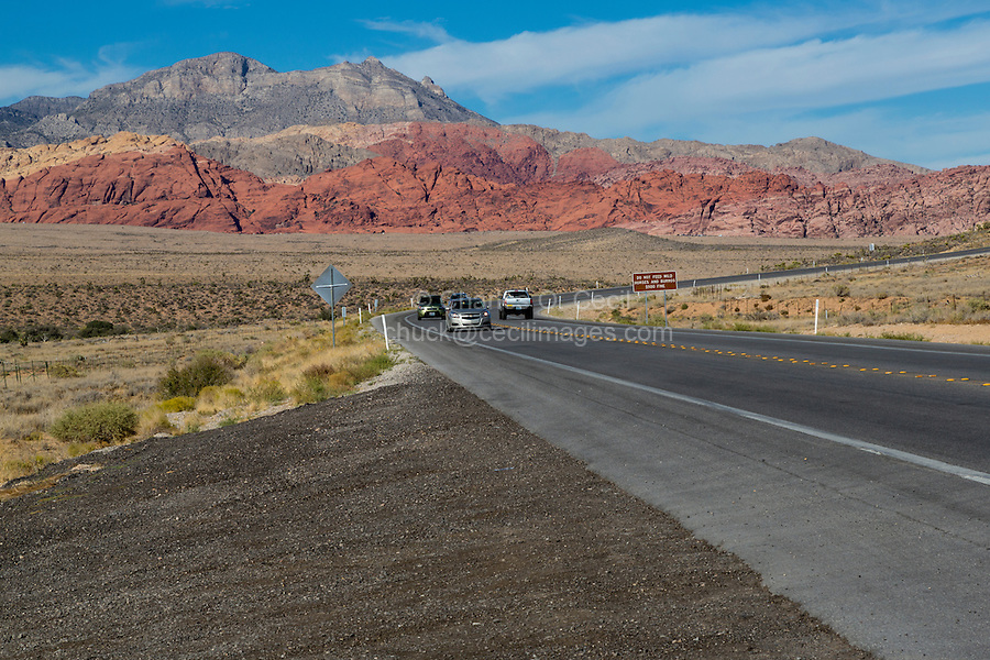 Red Rock Canyon, Nevada.  State Highway 159, Blue Diamond Road, Passing Red Rock Canyon.  Calico Hills in Center.