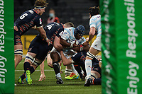 4th April 2021; Paris La Défense Arena, Nanterre, Paris, France; European Champions Cup Rugby, Racing 92 versus Edinburgh;  EDDY BEN AROUS ( 1 - Racing ) tackled by M Bradbury ( 4 - Edinburgh )