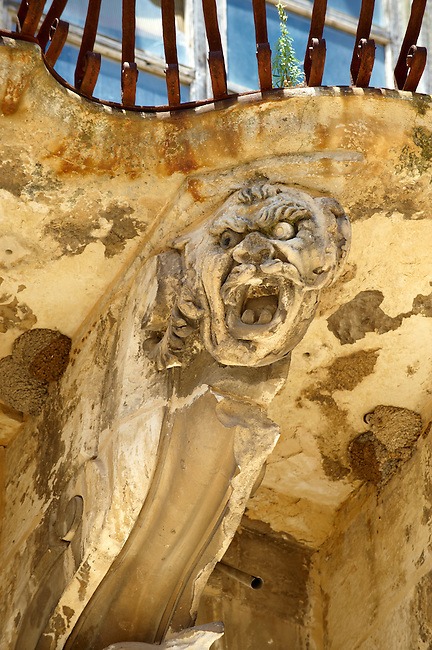 Baroque sculptures of the palace of  Beneventano, Sicili, Sicily