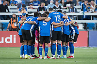 SAN JOSE, CA - AUGUST 17: San Jose Earthquakes players huddle before a game between San Jose Earthquakes and Minnesota United FC at PayPal Park on August 17, 2021 in San Jose, California.