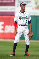 Cedar Rapids Kernels outfielder Byron Buxton #7 smiles during a game against the Lansing Lugnuts at Veterans Memorial Stadium on April 29, 2013 in Cedar Rapids, Iowa. (Brace Hemmelgarn/Four Seam Images)