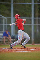Ball State Cardinals shortstop Ryan Peltier (7) bats during a game against the Mount St. Mary's Mountaineers on March 9, 2019 at North Charlotte Regional Park in Port Charlotte, Florida.  Ball State defeated Mount St. Mary's 12-9.  (Mike Janes/Four Seam Images)