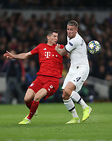Bayern Munich's Robert Lewandowski and Tottenham Hotspur's Toby Alderweireld<br /> <br /> Photographer Rob Newell/CameraSport<br /> <br /> UEFA Champions League Group B  - Tottenham Hotspur v Bayern Munich - Tuesday 1st October 2019 - White Hart Lane - London<br />  <br /> World Copyright © 2018 CameraSport. All rights reserved. 43 Linden Ave. Countesthorpe. Leicester. England. LE8 5PG - Tel: +44 (0) 116 277 4147 - admin@camerasport.com - www.camerasport.com