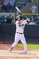 Clinton LumberKings first baseman Ryan Costello (13) at bat during a Midwest League game against the Lansing Lugnuts on July 15, 2018 at Ashford University Field in Clinton, Iowa. Clinton defeated Lansing 6-2. (Brad Krause/Four Seam Images)
