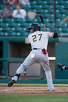Salt Lake Bees left fielder Rymer Liriano (27) at bat during a Pacific Coast League game against the Fresno Grizzlies at Chukchansi Park on May 14, 2018 in Fresno, California. Fresno defeated Salt Lake 4-3. (Zachary Lucy/Four Seam Images)