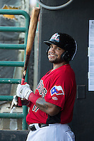 Rock Shoulders (17) of the Hickory Crawdads waits for his turn to hit during the game against the Savannah Sand Gnats at L.P. Frans Stadium on June 14, 2015 in Hickory, North Carolina.  The Crawdads defeated the Sand Gnats 8-1.  (Brian Westerholt/Four Seam Images)
