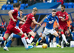 St Johnstone v Rangers…22.09.19   McDiarmid Park   SPFL<br />Michael O'Halloran is closed own by Connor Goldson and Filip Helander<br />Picture by Graeme Hart.<br />Copyright Perthshire Picture Agency<br />Tel: 01738 623350  Mobile: 07990 594431
