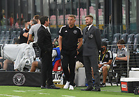 12th May 2021; Fort Lauderdale, Miami, USA;  David Beckham with Head coach Phil Neville, and David Gardner prior to the CF Montreal versus Inter Miami CF match on May 12, 2021 at DRV PNK Stadium.