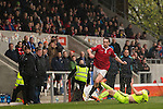 © Joel Goodman - 07973 332324 . 14/11/2015 . Manchester , UK . FC United's RORY FALLON (l) clashes with Gainsborough . FC United host Gainsborough Trinity in the National League North at Broadhurst Park . NB requested changing room access three times and was denied three times . Photo credit : Joel Goodman