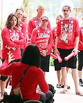 Chantal Petitclerc, Rio 2016.<br /> The flag raising welcome ceremony for Canada in the Paralympic Village // Cérémonie d'accueil de lever du drapeau du Canada au village paralympique. 05/09/2016.