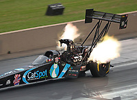 Jul 21, 2018; Morrison, CO, USA; NHRA top fuel driver Scott Palmer during qualifying for the Mile High Nationals at Bandimere Speedway. Mandatory Credit: Mark J. Rebilas-USA TODAY Sports
