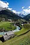 Austria, Tyrol, Stubai Valley, Community Neustift, district Kampl at river Ruetz and Stubai Alps