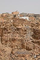 Jadu, Libya, in the Jebel Nafusa. A Berber Village, adhering to the Ibadi sect of Islam.  The hillside serves as a trash dump.