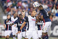 Foxborough, Massachusetts - July 29, 2017:  The New England Revolution (blue/white) beat Philadelphia Union FC  (white/black) 3-0 in a Major League Soccer (MLS) match at Gillette Stadium.