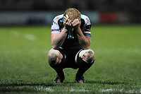 Luke Price of Ospreys looks dejected at full time during the Guinness Pro 14 Round 7 match between Ospreys and Cheetahs at The Gnoll in Neath, Wales, UK. Saturday 30 November 2019
