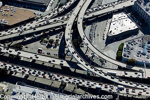 aerial photograph heavy traffic freeway interchange Bayshore freeway and Central Freeway 101 and 80 San Francisco, California