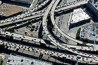 aerial photograph heavy traffic freeway interchange Bayshore freeway and Central Freeway 101 and 80 San Francisco, California
