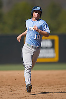 Kyle Seager (10) of the North Carolina Tar Heels in action versus the St. John's Red Storm at the 2008 Coca-Cola Classic at the Winthrop Ballpark in Rock Hill, SC, Sunday, March 2, 2008.