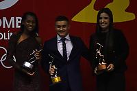 BOGOTÁ - COLOMBIA, 11-12-2018: Yenny Sinisterra (Izq.) Atius de Plata, Daniel Restrepo (Cent.) Altius de Oro y Maria Camila Osorio (Der.) Altius de Bronce en la modalidad de promesa del año, en los deportes incluidos en el programa de los Juegos Olímpicos de la Juventud, durante ceremonia de premiación del Deportista Altius del Año 2018, por el Comité Olímpico Colombiano (COC), en ceremonia realizada en el Hotel Grand Hyatt en la ciudad de Bogotá. / Yenny Sinisterra (L) Silver Atius, Daniel Restrepo (Cent.) Gold Altius and Maria Camila Osorio (Der.) Bronce Altius in the modality of promise of the year, in the sports included in the program of the Olympic Games of Youth, during the award ceremony of the Athlete Altius of the Year 2018, by the Colombian Olympic Committee (COC), in a ceremony held at the Grand Hyatt Hotel in the city of Bogota.Photo: VizzorImage / Luis Ramírez / Cont.