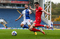 Blackburn Rovers' Adam Armstrong battles with Nottingham Forest's Scott McKenna<br /> <br /> Photographer Alex Dodd/CameraSport<br /> <br /> The EFL Sky Bet Championship - Blackburn Rovers v Nottingham Forest - Saturday 17th October 2020 - Ewood Park - Blackburn<br /> <br /> World Copyright © 2020 CameraSport. All rights reserved. 43 Linden Ave. Countesthorpe. Leicester. England. LE8 5PG - Tel: +44 (0) 116 277 4147 - admin@camerasport.com - www.camerasport.com