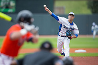 Duke Blue Devils starting pitcher Ryan Day (13) delivers a pitch to the plate against the Virginia Cavaliers in Game Seven of the 2017 ACC Baseball Championship at Louisville Slugger Field on May 25, 2017 in Louisville, Kentucky.  The Blue Devils defeated the Cavaliers 4-3 to advance to the Semi-Finals. (Brian Westerholt/Four Seam Images)