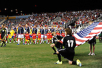 United States (USA) and Colombia (COL) players enter thr field prior to the start of the match. The men's national teams of the United States (USA) and Colombia (COL) played to a 0-0 tie during an international friendly at PPL Park in Chester, PA, on October 12, 2010.