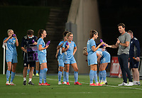 31st August 2021; Estadio Afredo Di Stefano, Madrid, Spain; Women's Champions League, Real Madrid CF versus Manchester City Football Club; Manchester City team speak with coach Gareth Taylor during a water break
