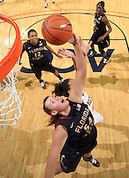 Feb. 7, 2011; Charlottesville, VA, USA; Florida State Seminoles center Cierra Bravard (54) reaches for the rebound in front of Virginia Cavaliers center Simone Egwu (4) during the first half of the game at the John Paul Jones Arena.  Mandatory Credit: Andrew Shurtleff-US PRESSWIRE