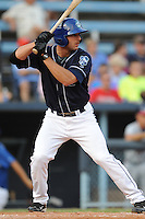 Asheville Tourists designated hitter Dominic Altobelli #7 swings at a pitch during a game against the Rome Braves at McCormick Field on August 20, 2011 in Asheville, North Carolina. Rome won the game 10-9.   (Tony Farlow/Four Seam Images)
