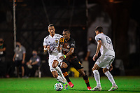 LAKE BUENA VISTA, FL - JULY 23: Mauro Manotas #9 of the Houston Dynamo dribbles the ball during a game between Los Angeles Galaxy and Houston Dynamo at ESPN Wide World of Sports on July 23, 2020 in Lake Buena Vista, Florida.