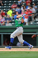 Outfielder Fred Ford (19) of the Lexington Legends bats in a game against the Greenville Drive on Friday, August 18, 2013, at Fluor Field at the West End in Greenville, South Carolina. Ford is the No. 23 prospect of the Kansas City Royals. Lexington won, 5-0. (Tom Priddy/Four Seam Images)