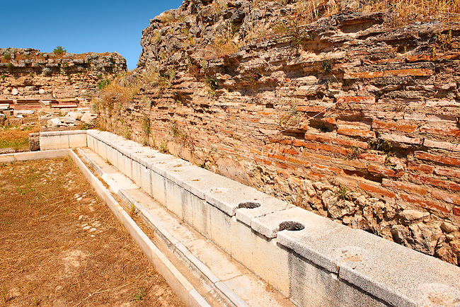Public toilets of Magnesia on the Meander arcaeological site, Turkey