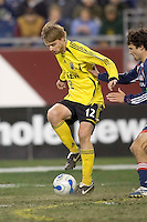 Eddie Gaven (Columbus Crew, yellow) prepares to heel a pass. NE Revolution defeat Columbus Crew, 1-0, at Gillette Stadium and secure home field advantage in the Eastern Conference Semifinal Series on October 14, 2006.