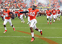 Virginia Cavaliers safety Darius Lee (40) runs onto the field during the first half of the NCAA football game against the Richmond Spiders Saturday September, 1, 2012 at Scott Stadium in Charlottesville, Va.