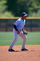 Tampa Bay Rays shortstop Wander Franco (4) during a Minor League Spring Training game against the Boston Red Sox on March 25, 2019 at the Charlotte County Sports Complex in Port Charlotte, Florida.  (Mike Janes/Four Seam Images)