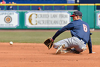 Cavan Biggio (6) of the New Hampshire Fisher Cats makes a play at second base during a game against the Hartford Yard Goats at Dunkin Donuts Park on April 8, 2018 in Hartford, Connecticut.<br /> (Gregory Vasil/Four Seam Images)