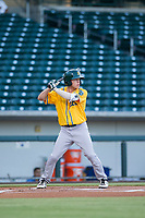 AZL Athletics shortstop Nick Allen (2) bats during a game against the AZL Cubs on August 9, 2017 at Sloan Park in Mesa, Arizona. AZL Athletics defeated the AZL Cubs 7-2. (Zachary Lucy/Four Seam Images)