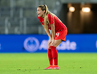 ORLANDO, FL - FEBRUARY 21: Shelina Zadorsky #4 of Canada reacts to a called foul during a game between Canada and Argentina at Exploria Stadium on February 21, 2021 in Orlando, Florida.