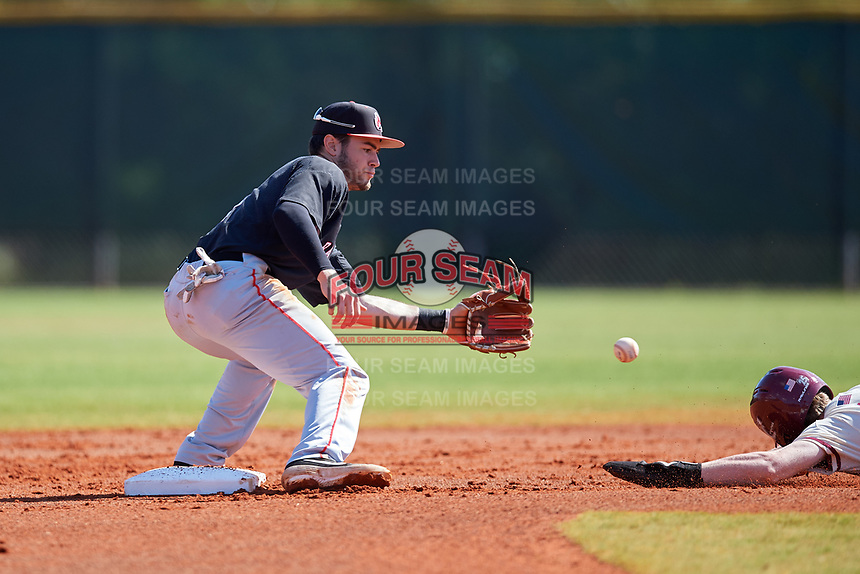 Ball State Cardinals second baseman Noah Navarro (8) fields a throw during a game against the Saint Joseph's Hawks on March 9, 2019 at North Charlotte Regional Park in Port Charlotte, Florida.  Ball State defeated Saint Joseph's 7-5.  (Mike Janes/Four Seam Images)