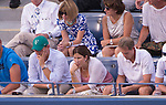 Roger Federer's wife, Mirka, watches as Roger Federer (SUI) loses to Marin Cilic (CRO) in the semifinals 6-3, 6-4, 6-4 at the US Open being played at USTA Billie Jean King National Tennis Center in Flushing, NY on September 6, 2014