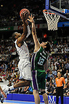 Real Madrid´s Kelvin Rivers and Unicja´s Carlos Suarez  during 2014-15 Liga Endesa match between Real Madrid and Unicaja at Palacio de los Deportes stadium in Madrid, Spain. April 30, 2015. (ALTERPHOTOS/Luis Fernandez)