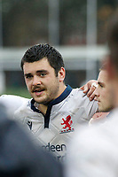 Lewis Wynne of London Scottish during the debrief during the Greene King IPA Championship match between London Scottish Football Club and Ampthill RUFC at Richmond Athletic Ground, Richmond, United Kingdom on 26 October 2019. Photo by Carlton Myrie.